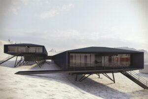 Im oberen Block (links) der Comandante-Ferraz-Antarktisstation werden Schlafkabinen, Speise- und Wohnbereiche untergebracht sein, während sich Labore, Betriebs- und Wartungsbereiche im unteren Block (rechts) befinden. Foto: Afaconsult / Estúdio 41