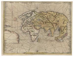 Weltkarte mit der Küste Brasiliens, Geographia, Claudius Ptolemäus (Straßburg, 1513). Foto: Österreichische Nationalbibliothek