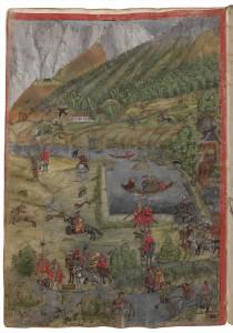 Wiese bei Stift Stams (u. a. Osmane auf der Jagd), Tiroler Fischereibuch. Foto: Österreichische Nationalbibliothek
