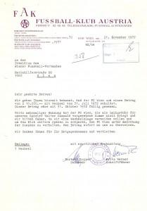 Der Anfang vom Ende. Der FC Wien war nicht mehr liquid und konnte seine Zahlungen kaum noch leisten. Was folge war die Einstellung des Spielbetriebs. Sammlung oepb