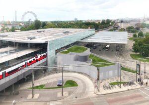 Das Innenministerium, die Stadt Wien und die ÖBB verständigen sich auf einen Zubau direkt am Bahnhof Praterstern. Foto: Visualisierung ÖBB/ZKPT/Renderhouse/Mariia Vall