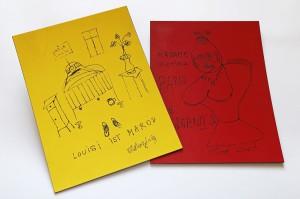 Zeichnungen von Thomas Bernhard auf farbigen Resopalplatten, Anfang 1960er Jahre. Foto: ÖNB