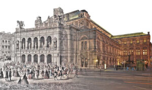 Die Hof- und Staatsoper in Wien im Wandel der Zeit. Foto-Collage: Wiener Staatsoper / oepb