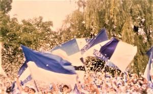Blick auf den 3er Sektor im Linzer Stadion. Dort versammelten sich früher die treuen Fans und Kuttenträger des SK VÖEST Linz. Foto: oepb