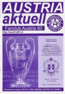 Das liebevoll gestaltete Din A5-Fanzine AUSTRIA aktuell begleitete zahlreiche Fußballfans durch die Jahrzehnte. Foto: oepb