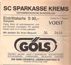 5. August 1988. Aus Kremser SC gg. SK VÖEST Linz, 4 : 1 (Pausenstand 2 : 0), 2.500 Zuschauer. Hier die Eintrittskarte von diesem Spiel. Sammlung: oepb