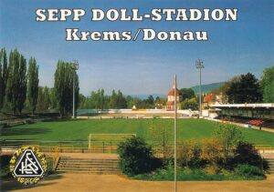 oepb-Postkarte aus dem Jahre 1999. Blick in das Sepp Doll-Stadion zu Krems. Foto: oepb