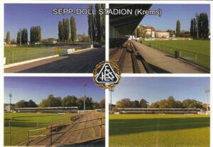 Stadion-Postkarte aus dem Jahr 2012. Sepp Doll-Stadion-Impressionen zu Krems. Foto: www.berndspeta.at