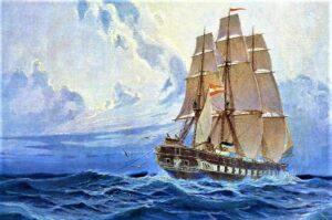 Gemälde des Forschungsschiffs Novara Foto: NHM Wien