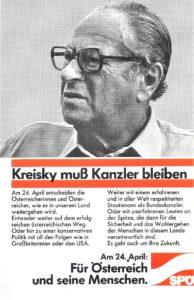 Das letzte Wahlplakat von Dr. Bruno Kreisky anlässlich der Nationalratswahl am 24. April 1983. Nach dem Verlust der absoluten Mehrheit trat der zwischen den Jahren 1970 bis 1983 tätige Österreichische Bundeskanzler verbittert und geknickt ab. Sammlung: oepb
