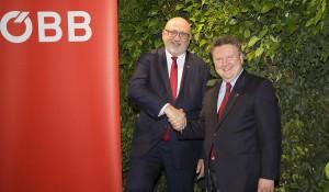 """Im Rahmen des großen Geburtstagsfests """"5 Jahre Hauptbahnhof Wien"""" gaben ÖBB-CEO Andreas Matthä (links) und der Wiener Bürgermeister Michael Ludwig einen umfassenden Rück- und Ausblick. Foto Roland Rudolph"""