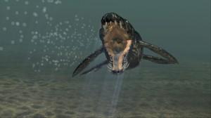 Blick in ein aufgerissenes Pliosaurier Maul. Computer-Animations-Foto: Lukeneder. NHMW