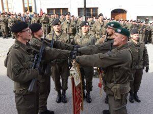 Lautstarkes Treuegelöbnis auf die Standarte des Panzergrenadierbataillons 13. Foto: BMLV / Vzlt Anton Mickla