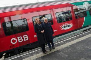 Die feierliche Zugstaufe wurde von Mag. Michaela Huber, Vorständin der ÖBB-Personenverkehrs AG und ÖFB-Präsident Dr. Leo Windtner vorgenommen. Foto: GEPA