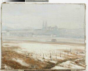 Ein Verschneiter Weingarten, von Egon Schiele, 1907. Im Hintergrund Klosterneuburg im Nebel. Öl auf Leinwand. Sammlung Stadt Tulln, Foto: Christoph Fuchs