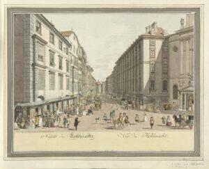 Wien zur Zeit Beethovens, Kohlmarkt mit Artaria-Haus; Radierung von Karl Schütz und Johann Ziegler; um 1800 – Foto: © Österreichische Nationalbibliothek