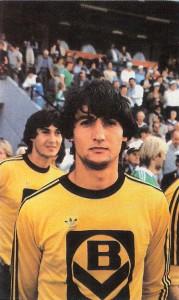 Ein Nagl kam in jenen Jahren beim LASK nie allein. Hier die Brüder Kurt (Vordergrund) und Wolfgang im Herbst 1981 im Hanappi-Stadion ...