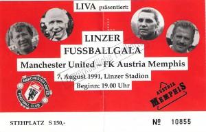 Matchkarte Manchester United vs. FK Austria Wien (1 : 5) vom 7. August 1991 im Linzer Stadion. Sammlung: oepb