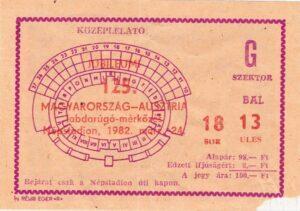 Im 125. Länderspiel der Geschichte zwischen Ungarn und Österreich gab es für die ÖFB-Auswahl am 24. März 1982 den 37. Erfolg. Anbei die Eintrittskarte von damals. Sammlung: oepb