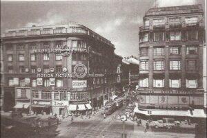 Das Bürohaus der Motion Picture Export Association in Wien VII, Neubaugasse 1 in den 1950er Jahren. Hans Menasse agierte von dort aus viele Jahrzehnte lang in der und für die Film-Branche. Foto: Menasse