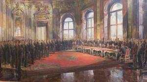 Die Unterzeichnung des Österreichischen Staatsvertrages am 15. Mai 1955 im Wiener Schloss Belvedere wird soeben vollzogen. Gemälde von Robert Fuchs – Sammlung: ÖNB