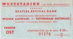"""Eintrittskarte Jubiläumsmatch """"25 Jahre Staatsvertrag"""" vom 11. Mai 1980. Eine Kombination von Austria/RAPID gewinnt gegen die Tottenham Hotspurs mit 3 : 0, Halbzeit 1 : 0. Sammlung: oepb"""