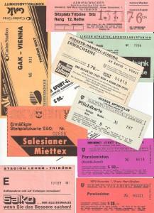 """Coronabedingt erzielen die Bundesliga-Vereine derzeit keine Einnahmen aus den Karten-Erlösen. Bleibt nur zu hoffen, dass der derzeitige """"Geisterspiele-Zustand"""" alsbald wieder der Geschichte angehören wird. Anbei ein kleiner Streifzug durch die Geschichte von Eintrittskarten der 1970er und 1980er Jahre. Sammlung und Foto: © oepb"""