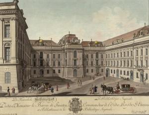Blick auf den Wiener Josefsplatz, Kolorierter Kupferstich von Carl Schütz, um 1780. Foto: Österreichische Nationalbibliothek