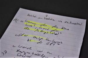 """Notiz von Journalist Frederik Obermaier zum sogenannten """"Ibiza-Video"""", """"Wenn du die Krone hast, hast du die Meinungshoheit"""" – """"der einzige Konkurrent ist der ORF"""". Foto: HdGÖ"""