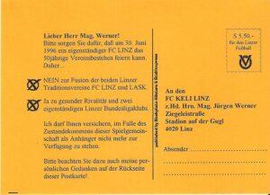 Diese kleinen Postkarten wurden damals sehr zahlreich an das FC Linz-Sekretariat im Linzer Stadion verschickt. Sammlung: oepb
