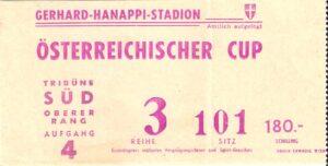 Die Eintrittskarte vom ÖFB-Cupfinale 1984/85 zwischen dem SK RAPID Wien und dem FK Austria Memphis Wien, gespielt am Donnerstag, 13. Juni 1985. Sammlung: oepb