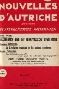 Nouvelles d'Autriche. Österreichische Nachrichten, Erscheinungsort: Paris, Ausgabe: 1939, Heft 5. Bild: © ÖNB