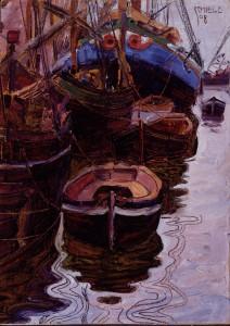 """""""Boote im Hafen von Triest"""" - Egon Schiele, 1908. Foto: © Landessammlung Niederösterreich"""