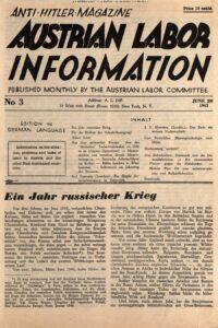 Austrian Labor Information. Erscheinungsort: New York, Ausgabe: 1942, Heft 3. Bild: © ÖNB