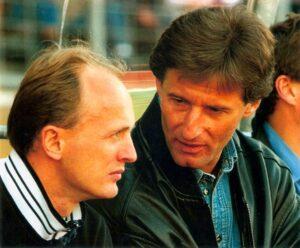 Aus dem Spieler wurde ein Trainer. Georg Zellhofer (links) neben Hubert Baumgartner auf der FC Linz-Betreuerbank im Mai 1997. Foto: © oepb