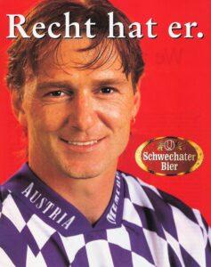 "Auch FAK-Wirbelwind Andreas ""Andy"" Ogris ging 1996/97 als perfekter Schwechater-Werbe-Partner durch."
