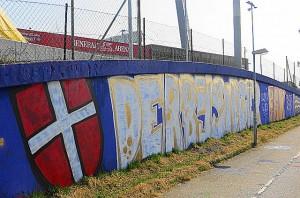 FK Austria Wien-Graffiti an der Tangente beim Horr-Stadion, heutige Generali-Arena zu Wien-Favoriten. Foto: © oepb