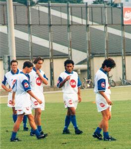 Erstes FC Linz-Training auf der Gugl. Im Bild von links: Günter Zeller, Ronald Brunmayr, Jürgen Aschauer, Hugo Sanchez und Manfred Linzmaier. Foto: © oepb