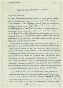 """Ingeborg Bachmann: 5. Frankfurter Poetikvorlesung """"Literatur als Utopie"""", Typoskript zur Vorlesung vom 24. Februar 1960. Foto: © Österreichische Nationalbibliothek"""