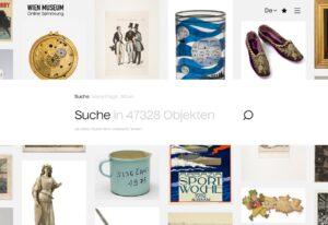 Wien Museum Online Sammlung, Screenshot, 2020 Foto: © Wien Museum